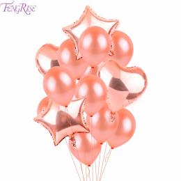 FENGRISE Rose Złote Serce Champagne Gwiazda Wedding Party Decor Lateksowe Balony Balon Foliowy Balon do Dekoracji Urodziny