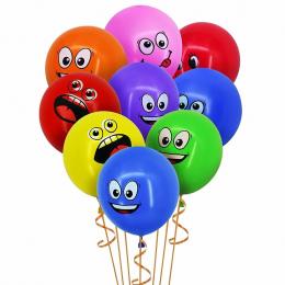 CCINEE Śliczne Wydrukowano Wielkie Oczy Buźkę Szczęśliwy Urodziny Strona Dekoracji Balony Lateksowe Nadmuchiwane Air Balloons Pi