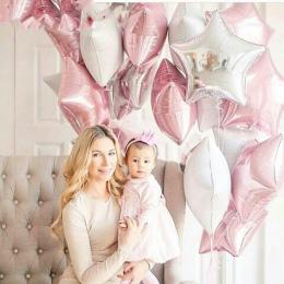 12 sztuk Baby Shower 18 cal Różowy Biały Gwiazda Helem Balony Foliowe Dziewczyny Szczęśliwy Birthday Party Supplies 1st Strona D