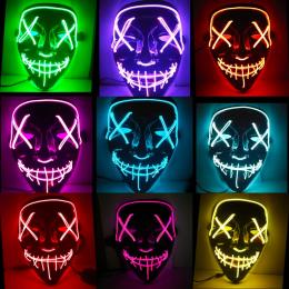 Halloween Maski LED Light Up Śmieszne Maski Na Purge Wybory Rok Wielki Festiwal Cosplay Kostium Zaopatrzenie Party Maski Glow In