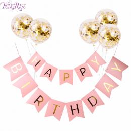 FENGRISE Różowy Szczęśliwy Urodziny Banner Złota Konfetti Balony List Banner Birthday Party Dekoracje Dziewczyna Chłopiec Dzieci
