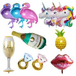 Hawaje Jednorożec Party Flamingo Balony Foliowe Duże Helem Ballon Powietrza dla Szczęśliwy Urodziny Dekoracje Dzieci Dorosłych E