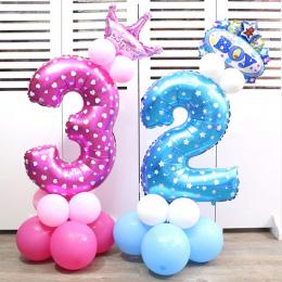 32 cal różowy niebieski Numer Cyfrowy Balonów Helem Balony foliowe Balony Event Party Supplies Urodziny Wesele Decor Powietrza