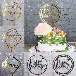 Glitter Szczęśliwy Birthday Cake Topper List Akrylowe Złoto Srebro Ciasto Top Oznacz Dekoracji dla Chłopca Urodziny Materiały Śl
