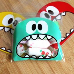 50 sztuk Słodkie Big Teech Usta Potwór Plastikowa Torba Ślub Urodziny Cookies Cukierki Prezent Torby Do Pakowania OPP Samoprzyle