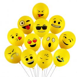 CCINEE 10 sztuk 12 cal Emoji Balony Smiley Face Wyraz Żółty Lateksowe Balony Wesele Balony Cartoon Piłki Dmuchane