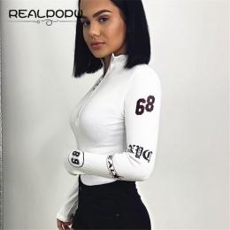 Realpopu Golf Z Długim Rękawem Sexy Body Kobiety Zipper Bodycon Skinny Wydrukowano Ciepłe Koszula Romper Eleganckie Jesień Kombi