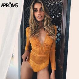 Aproms Głębokie V neck Lace Mesh Szydełka Body Kobiety Slim Fit Romper Kombinezon Sexy High Street Body Topy dla Kobiet odzież