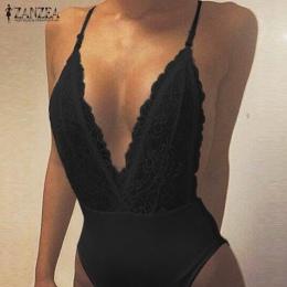 ZANZEA Moda Lato Sexy Pajacyki Kobiet Kombinezon Głębokie V Neck Bez Rękawów Spaghetti Strap Backless Koronki Stałe Body Przebra