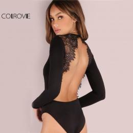 COLROVIE Backless Lace Patchwork Body Czarne Seksowne Szczupłe Kobiety Klub Lato Body 2017 Skinny Hot Party Body Z Długim Rękawe