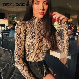 Realpopu skóry węża Golf Z Długim Rękawem Body Sexy Bodycon Moda Romper Kobiet Kombinezon Ogólnie Dzianiny Combinaison