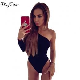 Hugcitar bawełna jedno ramię nachylenie dekolt body pojedyncze długim rękawem 2017 jesień Kobiety sexy czarny strój kąpielowy ko