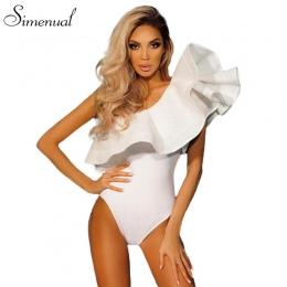 Jedno ramię ruffles fitness body kobiety odzież 2018 moda sexy hot slim bodycon kombinezony stałe panie body pajacyki