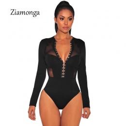 Projektowanie Mody Przycięte Ziamonga Mesh Patchwork Z Długim Rękawem Czarny Przycisk Hak Unikalny Projekt Kobiety Sexy Body Bod