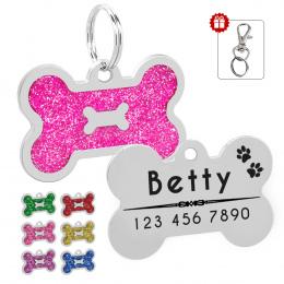 Glitter Spersonalizowane Pies ID Tag Dostosowane Kształt Kości Nazwa Tag Płyta Pet Dog Akcesoria Kołnierz Dekoracji Różowy Czerw
