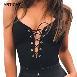 Articat Sexy Lace Up Body Kobiety Lato Bluzki Spaghetti Strap V Neck Backless Pajacyki kobiet Kombinezon Strona Bodycon Kombinez