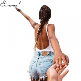 Gorąca sprzedaż 2017 moda fitness body kobiety bez rękawów backless solidna sexy bandaż body pajacyki kobiet kombinezon szczupła