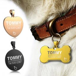 FLOWGOGO Anti-lost Ze Stali Nierdzewnej Grawerowane Pet Cat Dog Tag ID Nazwa Tagi Pet Puppy Dog Collar Akcesoria Telefoniczne Zn