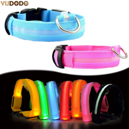 Nylon LED Obroża dla zwierząt, Bezpieczeństwo Noc Miga Świecić W Ciemności Smycz Psa, psy Luminous Fluorescencyjne Obroże Pet Su