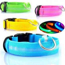 Nylon Pet Dog Collar LED Light Night Bezpieczeństwa Świecące Pet Supplies Kot Pies LED Kołnierz Akcesoria Dla Zwierząt Małych Ps
