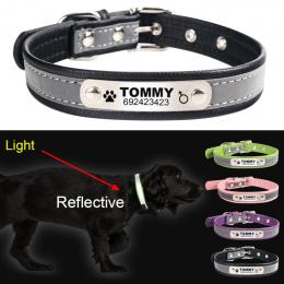 FLOWGOGO Odblaskowe Skóry Spersonalizowane Grawerowane Pies Kołnierz Niestandardowe Puppy Cat Pet ID Tag Dla Małych i Średnich P