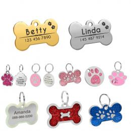 Pies ID Tag Grawerowane Metalowe Dostosowane Tagi Domowych Małe Duży Pies Akcesoria Spersonalizowane Kości Łapy Nazwa Tag Płyta