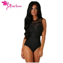 Szanowny Kochanek Body Kobiety Sexy Black Lace Wysoka Neck Cut Out Back Bodycon Romper Kombinezony Combinaison Szorty LC32050 Pr