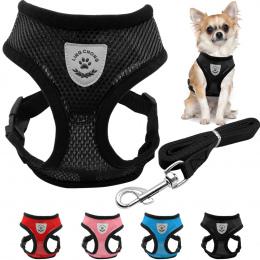 Oddychające Oczek Mały Pies Pet Szelki i Leash Set Puppy Kot Kamizelka Szelki Kołnierz Dla Chihuahua Pug Buldog Kot arnes perro