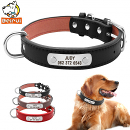 PU Skóra Obroża Trwałe Wyściełane Spersonalizowane ID Zwierzę Obroże Dostosowane dla Małe Średnie Duże Psy Kot Czerwony Czarny B