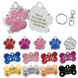 Spersonalizowane Dog Tagi Grawerowane Kot Puppy Pet ID Nazwa Kołnierz Tag Wisiorek Akcesoria Dla Zwierząt Kości/Paw Brokatem
