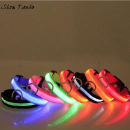 Moda cukierki kolor LED Obroża Miga W Ciemnym Nylon 3 Tryb Oświetlenie Bezpieczeństwa LED Pet Kołnierz Szeroki Luminous Pet prod