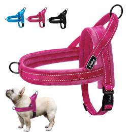 Nylon Odblaskowe Pet Dog Szelki Kamizelki Miękkie Flanelowe Wyściełane Nie Ciągnąć Pasek Uprząż Dla Walking Szkolenia Małe Średn
