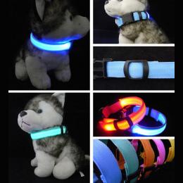 Nylon LED Obroża dla Zwierząt, Bezpieczeństwo Noc Miga Świecić W Ciemności Smyczy Psa, Luminous Fluorescencyjne Obroże Dla Psów