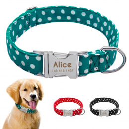 Personazlied Dog Collar Dostosowane Pet Collar Nylon Anti-lost Tabliczka Znamionowa Tagi Obroże Darmowa Grawerowane Dla Mały Śre