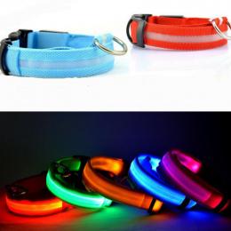 Nylon LED Obroża dla Zwierząt Regulowany Luminous Noc Bezpieczeństwo Anti-lost Ciemne Światło Miga Świecące Obroże Psa Pet Suppl