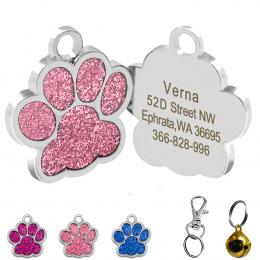 Drop shipping Kształt Łapy Psa ID Tag Grawerowane Pies ID Nazwa Tagi Pet Collar Wisiorek Bezpłatna Wygrawerować Nazwa i Telefon