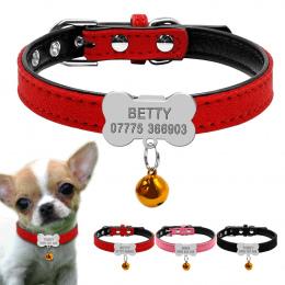 Spersonalizowane Obroże Dla Psów Niestandardowe Chihuahua Puppy Kot Kołnierz Kości ID Tagi Grawerowane Dla Małych i Średnich Psó