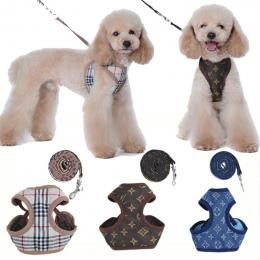 Produkty dla zwierząt Małych Psów Uprząż Leash Set Pet Akcesoria Kamizelka 130 cm Smycze Dla Psów do Łatwego Walking Patrol Mięk