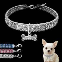 Bling Rhinestone Obroża Kryształ Puppy Chihuahua Pet Obroże Dla Psów Smycz Dla Małych i Średnich Psów Mascotas Akcesoria S M L r
