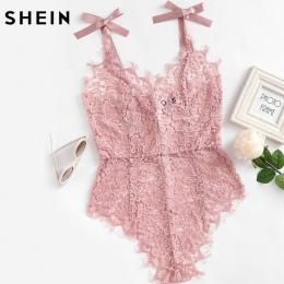 SHEIN Ribbon Tie Ramię Zobacz Choć Floral Lace Body Panie Sexy Body Różowy V Neck Bez Rękawów Słodkie Body