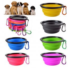 Miska pies Przenośny Składany Składany Silikonowy Pet Cat Dog Food Woda Karmienia Travel Bowl Sep12 Profesjonalne