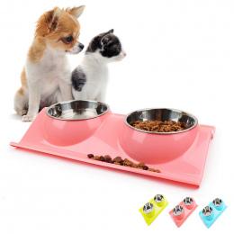 DODOPET Pet Miska Pies Puppy Kot Miska Wody Przechowywania Żywności Podajnik nietoksyczny Żywicy PP Ze Stali Nierdzewnej Combo R