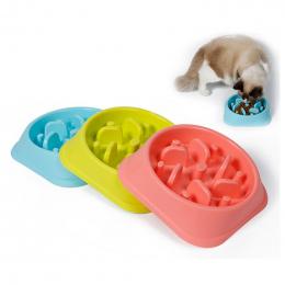 Plastikowe Pet Feeder Anti Ssania Miska Pies Puppy Kot Spowolnić Eatting Podajnik Zdrowej Diety Danie Dżungli Projekt Różowy Nie