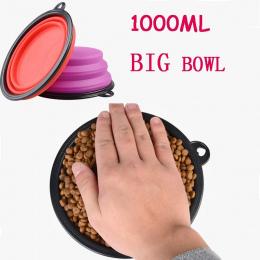 1000 ml Przenośne Zewnątrz Podróży Miska dla Zwierząt Silikonowe Składane Miski Żywności Miski Wody Pitnej Pet Produktu z Klamrą