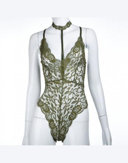 CWLSP 2018 Lato Sexy Halter Mesh Przepuszczalność Koronki Kobiet Body Vintage Transparent Klub Kombinezony Kobiety Pajacyki QZ18