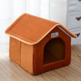 Pet House Składane Łóżko Z Maty Miękkie Zima Leopard Dog Puppy Poduszka Sofa Dom Kennel Nest Pies Kot Bed Dla Małych Średnich ps