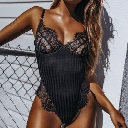 2018 New Sexy Halter koronki body Kobiety Skinny 2018 hollow out czarny kombinezon romper ciała feminino kombinezony siatki play