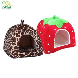 Miękkie Strawberry Legowisko Kot Dom Składany Leopard Zwierząt Jaskini Śliczne Pet Cat Dog House Nest Puppy Dog Kennel Wysokiej