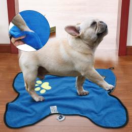 Mikrofibra Pet Kąpieli Ręcznik Szybkoschnący Ręcznik Chłonne Haft Paw Kot Puppy Grooming Pet Produkty Dla Psów Kotów
