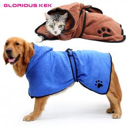 XS-XL Pies Szlafrok Ciepłe Ubrania Dla Psów Super Chłonne Pet Suszenia Ręcznik kąpielowy ręcznik Hafty Łapa Kota Kaptur Pet Groo